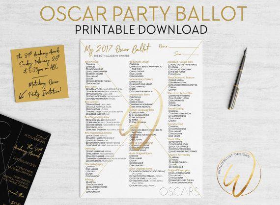 2017 Oscar Ballot | The Academy Awards Party Game | by WonderlustDesignsCo