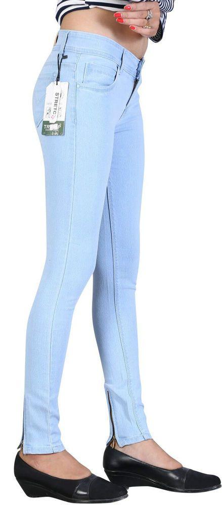 Women Girls Stretchable Ice Blue Slimfit Ankle Length BASIC Jeans