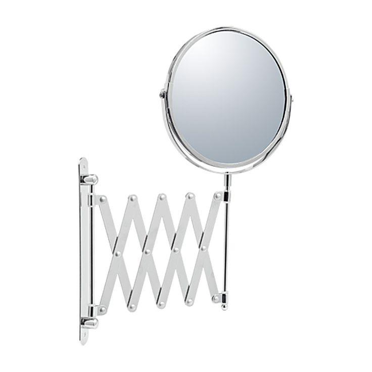 En rund sminkspegel som monteras upp på väggen och har en tre gånger förstoring och är ett bra hjälpmedel vid rakning och sminkning. Spegeln är utdragbar
