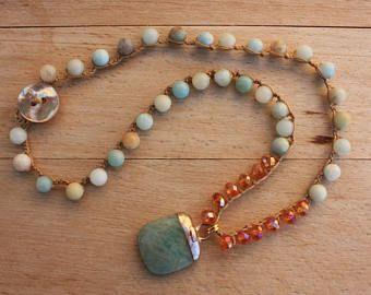Boho Crochet Necklace, Amazonite  Gemstone Drop, Beach  Bohemian Jewelry