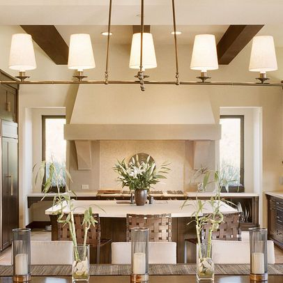 Mediterranean Modern Ceiling Detail Windows Flanking Massive Kitchen Hood Mediterranean