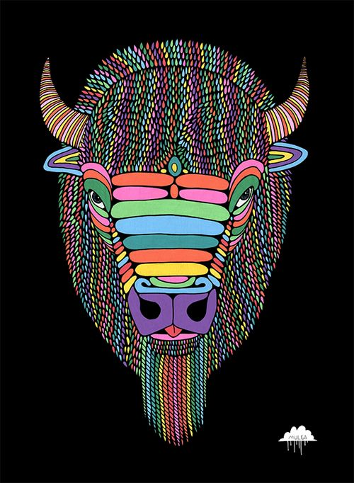 © Mulga 2012, Barry the Magical Bison, Posca on Paper, 30 x 40 cm