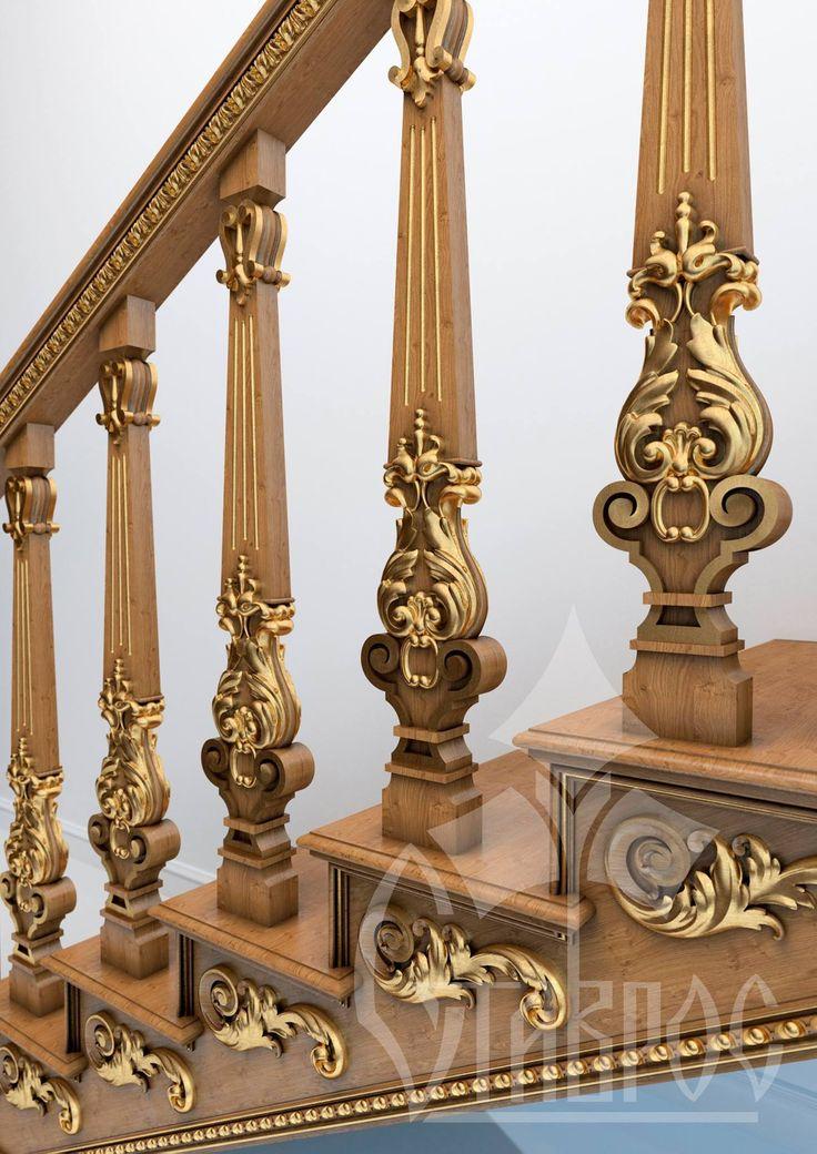 Дизайн-проект лестницы от компании «Ставрос» В оформлении использованы стандартные элементы из нашего каталога: K-001, K-020, N-120, L-003, L-010.