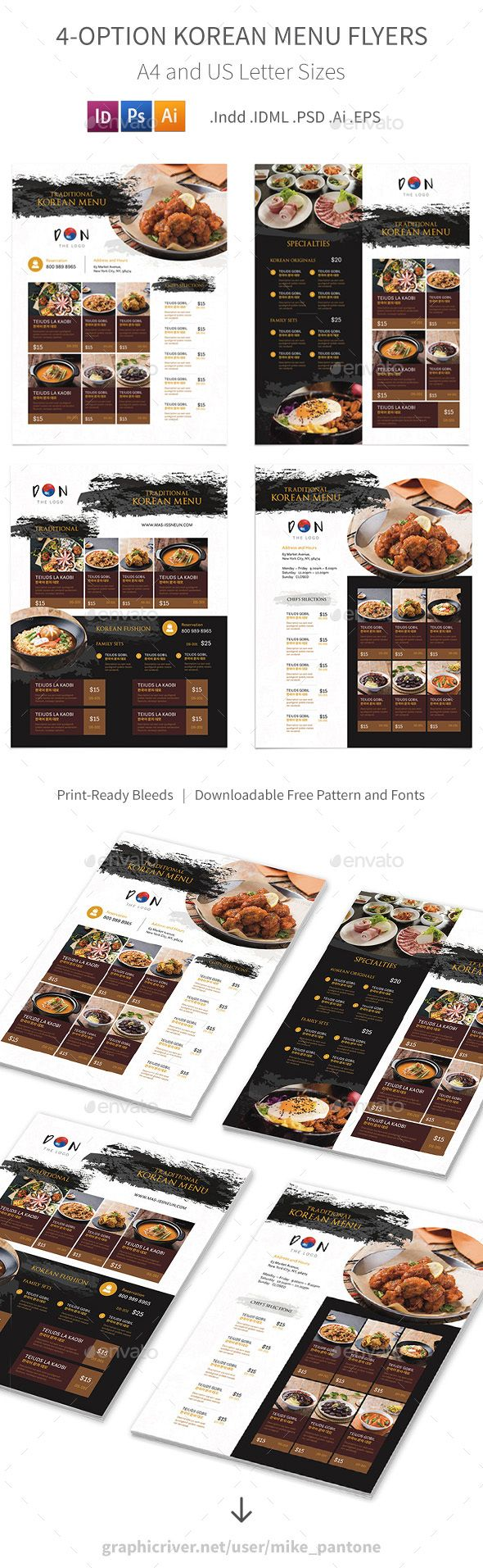 Korean Restaurant Menu Flyers 2 – 4 Options - Food Menus Print Templates Download here : https://graphicriver.net/item/korean-restaurant-menu-flyers-2-4-options/19263399?s_rank=81&ref=Al-fatih