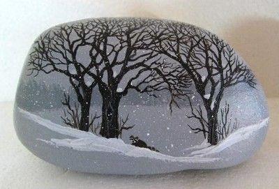 Hand painted rock-art-paintings-snow scene w/ raccoon Martha Winenger (12/22/2012)