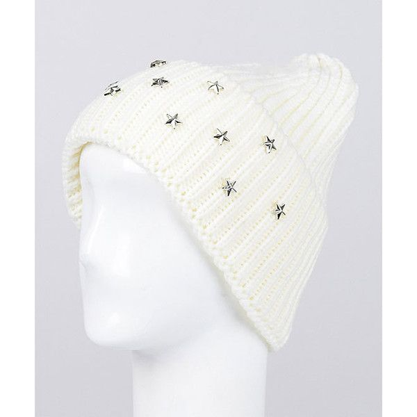 Anarchy Street  White Embellished Slouchy Beanie (9 LYD) ❤ liked on Polyvore featuring accessories, hats, beanie hat, slouchy beanie hat, slouch hat, embellished beanie and white beanie