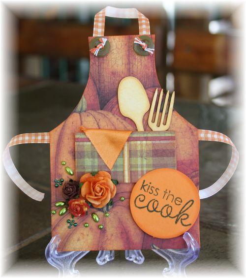 Kiss the cook  apron shaped card  Karien van der westhuizen