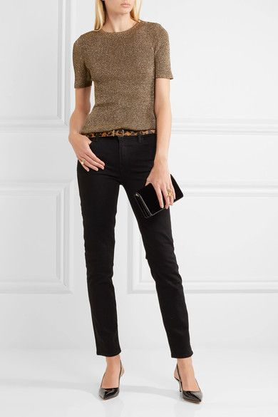 Gold and brown ribbed-knit  Snap fastenings along shoulder 74% viscose, 18% polyester, 8% polyamide  Dry clean  Imported