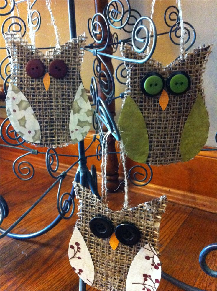 Burlap and button owl ornaments