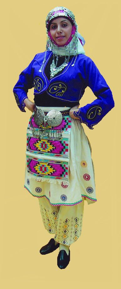 Traditional festive village costume from the province of Fethiye. 1925-1950.  This is a recent workshop-made copy, as worn by folk dance groups.