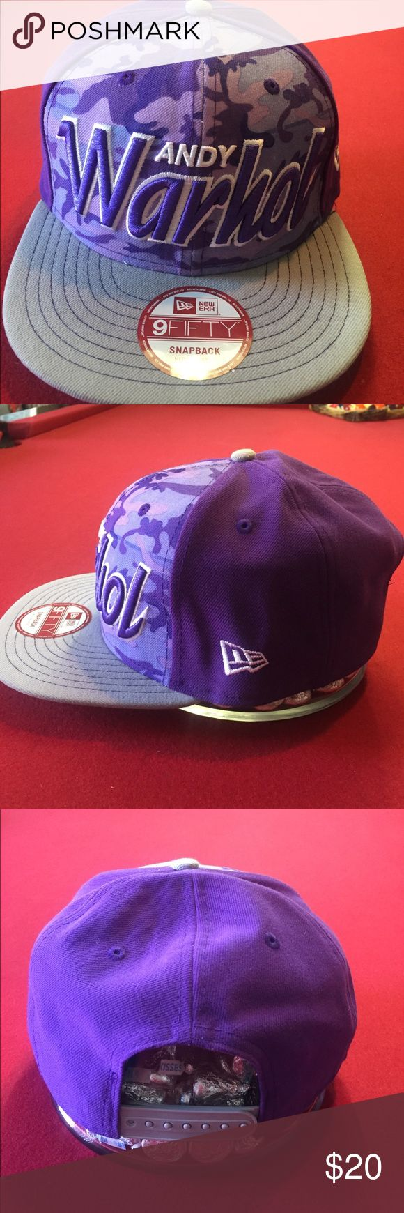New Era Andy Warhol SnapBack Brand new, New Era Andy Warhol edition snapback in M/L. Color is gray and purple/camo New Era Accessories Hats