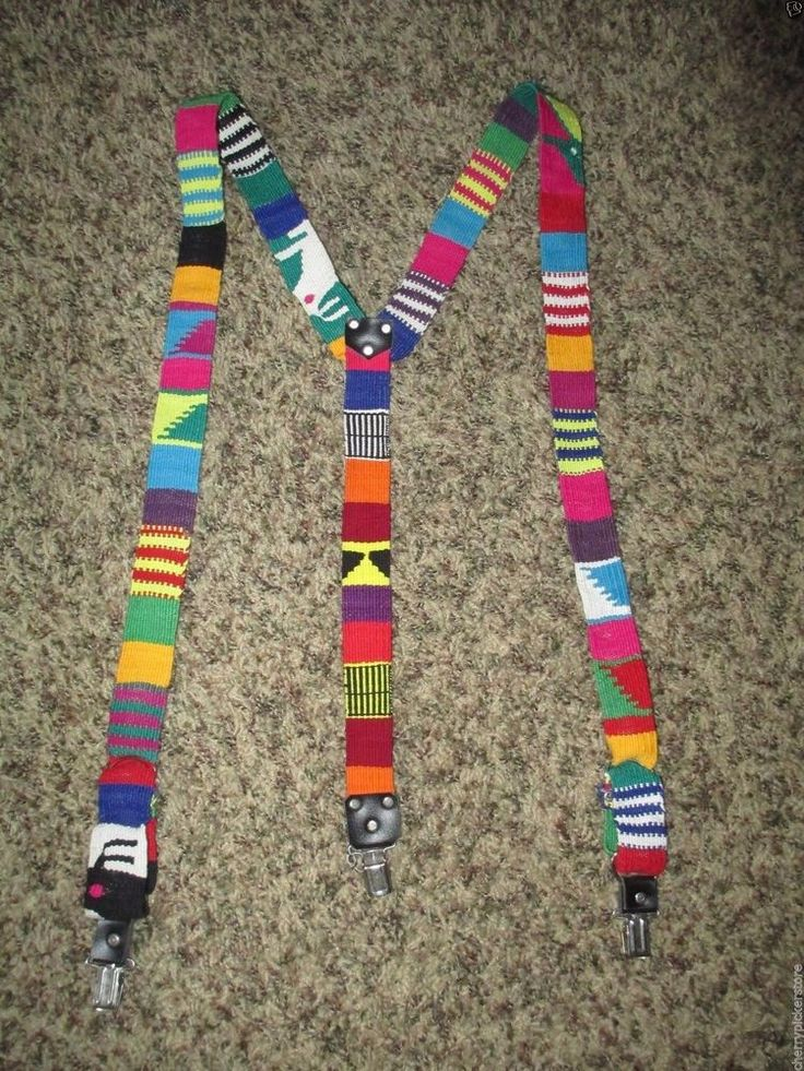 Suspenders Mexican Colorful Adjustable Woven  #Unbranded