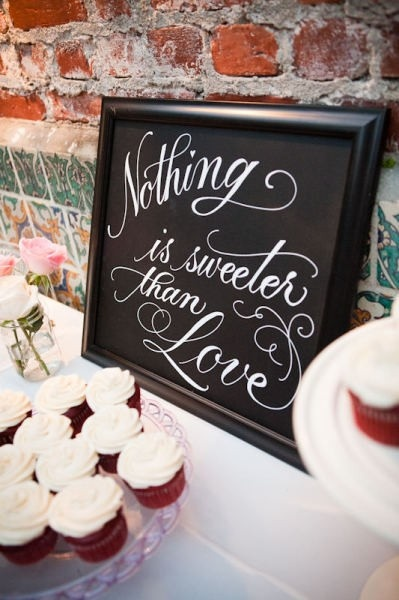 "Dessert table sign: ""Nothing is sweeter than Love"" (except maybe candy...)"
