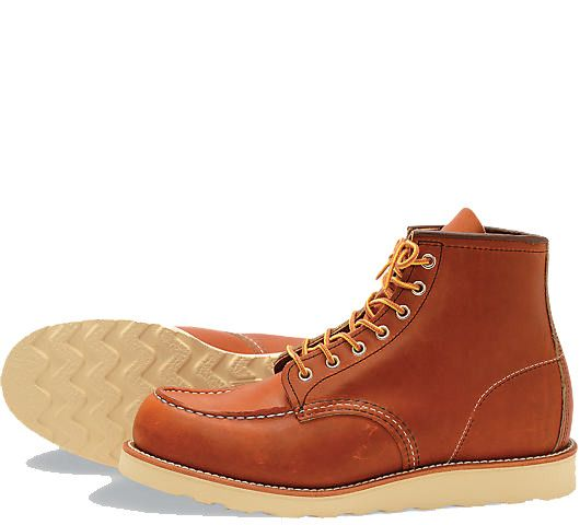 Red Wing Classic Moc: The classic Red Wing style. Designed and built to withstand the riggers of the working day these boots are crafted to age beautifully. Made from tough Oil-Tanned leather with gun-metaleyelets this design is 110 years old and is still the best seller. Please note most customers buy a half size smaller than their usual shoe size.
