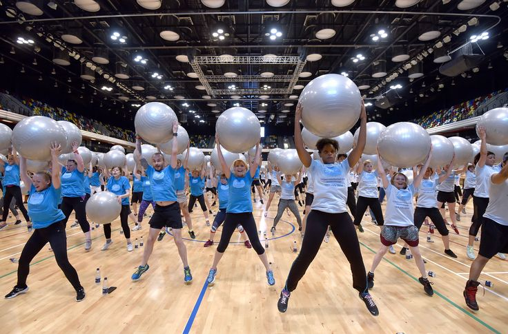 Largest exercise ball class: To achieve this huge class successfully, 391 members had to follow instructions from  Team GB taekwondo Olympian Sarah Stevenson and former 'Record Breakers' host and three-time Olympic medallist Kriss Akabusi.  A once in a lifetime chance to get workout tips from a real Olympian, participants left feeling good about their bodies and achieving the record.
