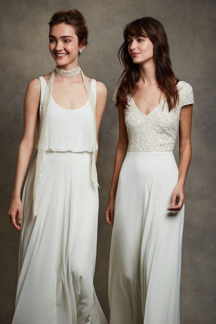 07667da691a3e Motee Maids ivory sequin sash and beaded bodice bridesmaids' dresses |  bridemagazine.co.uk