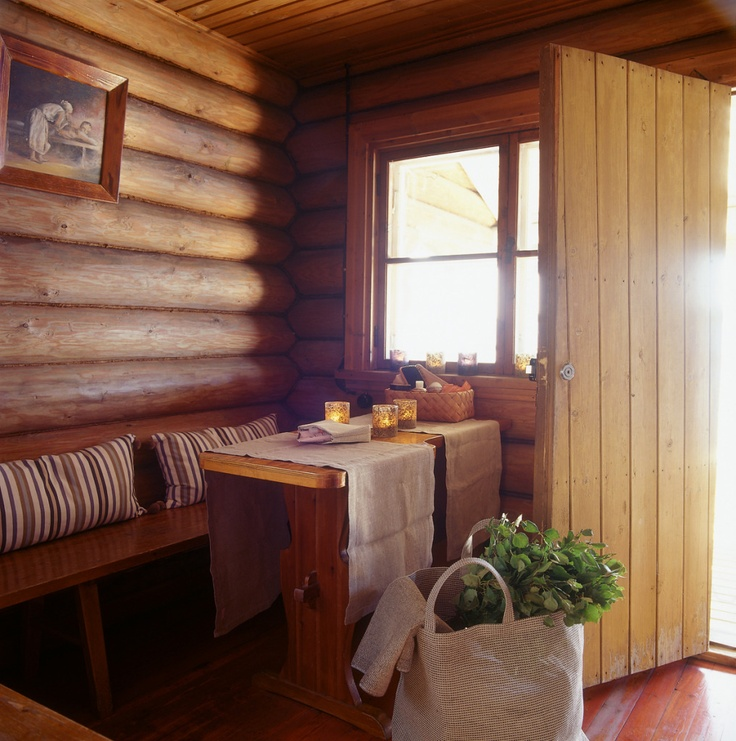 image by Tulikivi - Photobucket. The dressing room in a sauna. Juuka, Finland.