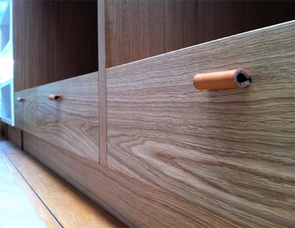 Walk-in wardrobe, timber veneer detailing. NOTE: kicker also timber veneer