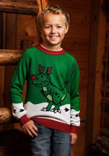 Ugly Christmas Sweater Dinosaur Reindeer Kids