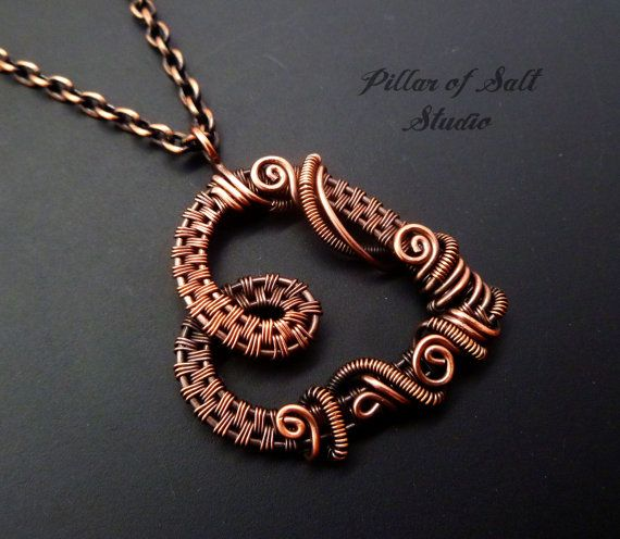 Heart necklace Wire Wrapped pendant / copper by PillarOfSaltStudio