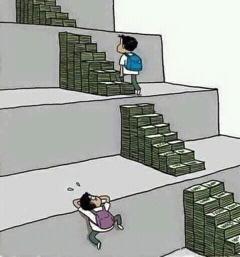 This picture is a good example of satire because it is showing our educations system. This is a juvilian cartoon because it causes us to think about the problem and for some people it may be offensive. The crazy thing is that it is true. If you don't have money then it's twice as hard to get a good education and twice as hard to get a good job.