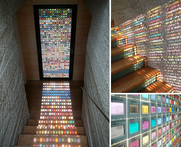 Gorgeous glass door made of pantone swatches.Inception door    Framed slides of Pantone swatches, laminated glass, wood frame | H 210cm, W 84cm