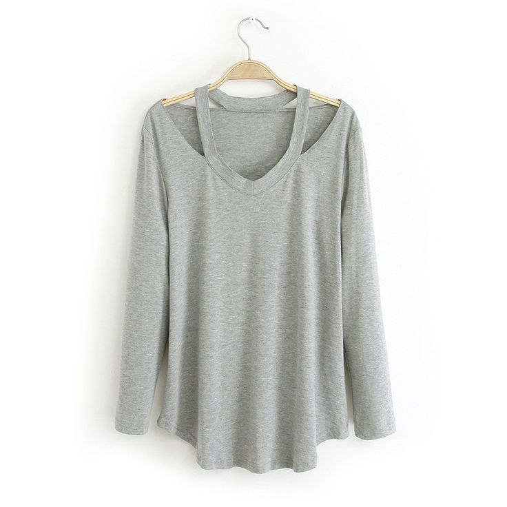 new fashion cut out blouses women high street casual shirts summer autumn solid top black/ white/grey