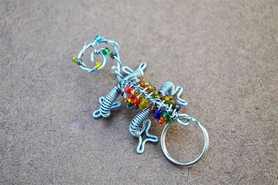 Beaded reptile keychain African wire and bead art by akwaabaAfrica, $5.00