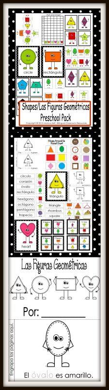 Shapes/Las Figuras Geométricas theme Unit is in both English and Spanish. The 125 page download is full of learning!  circle-círculo  heart-corazón  oval-óvalo   rectangle-rectángulo  triangle- triángulo  rhombus- rombo  diamond-diamante  square- cuadrado  star-estrella  hexagon- hexágono  octagon-octágono  pentagon-pentágono  trapezium/trapezoid-trapezoide/trapecio