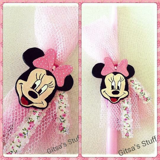 Handmade.. Easter Candle.. Minnie Mouse.. Pink..
