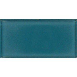 Dark Teal Green 3'' x 6'' Glossy Glass Tile
