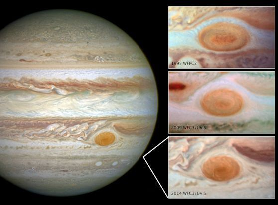 Jupiter's trademark Great Red Spot -- a swirling anti-cyclonic storm larger than Earth -- has shrunk to its smallest size ever measured. According to Amy Simon of NASA's Goddard Space Flight Center in Greenbelt, Maryland, recent NASA Hubble Space Telescope observations confirm the Great Red Spot now is approximately 10,250 miles across, less than half the size of some historical measurements. Astronomers have followed this downsizing since the 1930s.