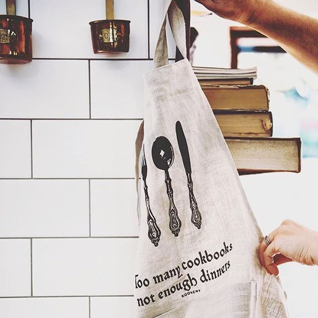 Nothing better than being in the kitchen when there's a little rain outside  @kookerystore  #angovestreetcollective #kookerystore #apron #rainydays #cookbooks #perthupmarket