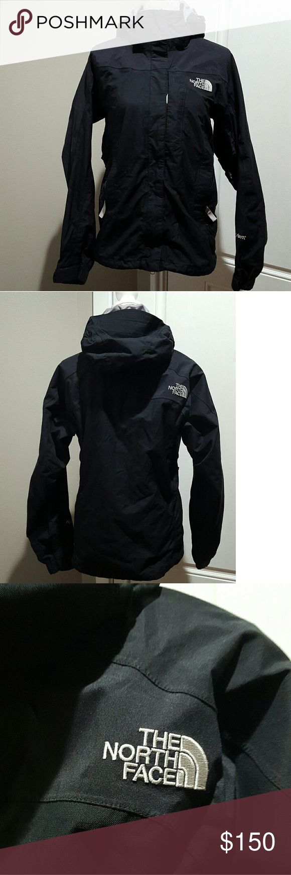 Women's black North Face snowboard/ski jacket, Med Women's black The North Face ski/snowboard jacket, size medium. No stains or tares, has a snow shield and waist adjuster. There is a small patch shown in photo where velcro attached to it when put in the washer. The North Face Jackets & Coats