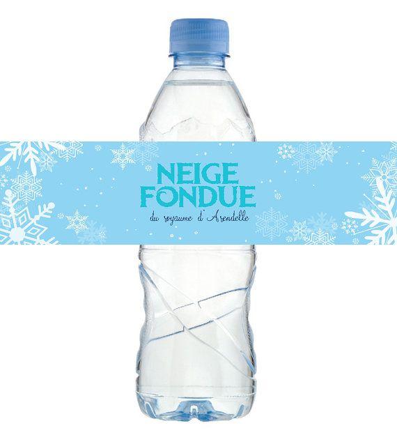Etiquettes bouteille d'eau Reine des Neiges