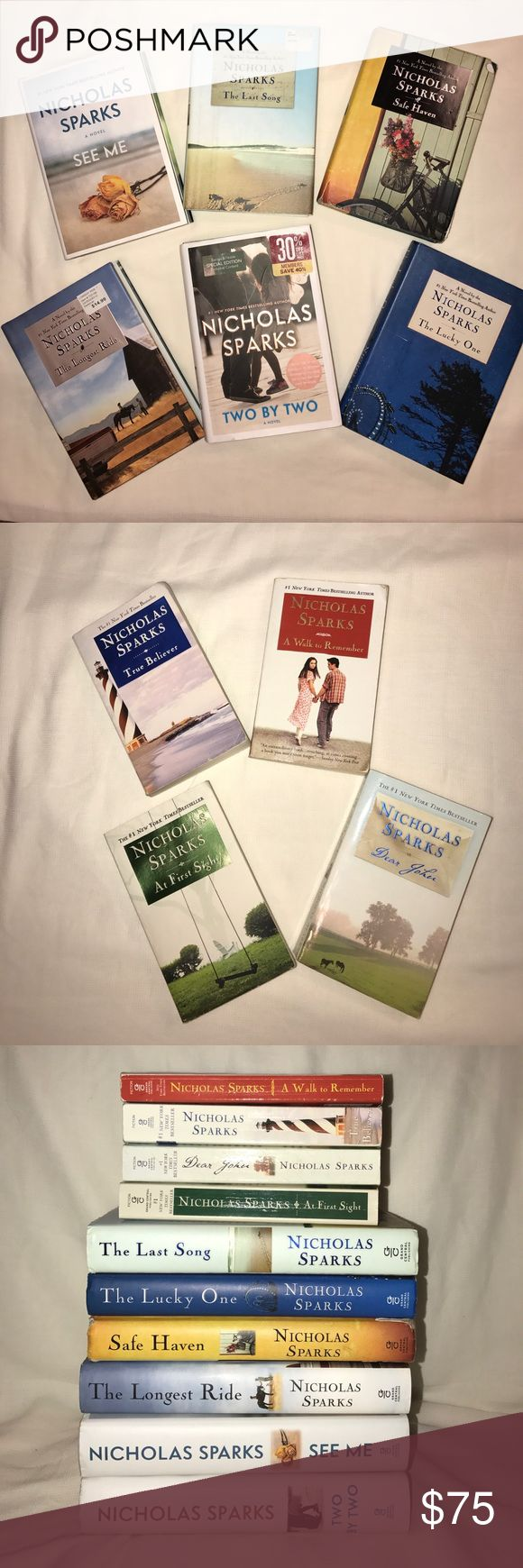Nicholas Sparks 10 Novels Bundle Nicholas Sparks Novels! 6 Hardcover Books: -Two by Two -See Me -The Longest Ride -Safe Haven -The Lucky One -The Last Song 4 Paperback Books: -At First Sight -Dear John -True Believer -A Walk to Remember (Some of the books show slight wear) ➡️All Reasonable offers will be accepted Other