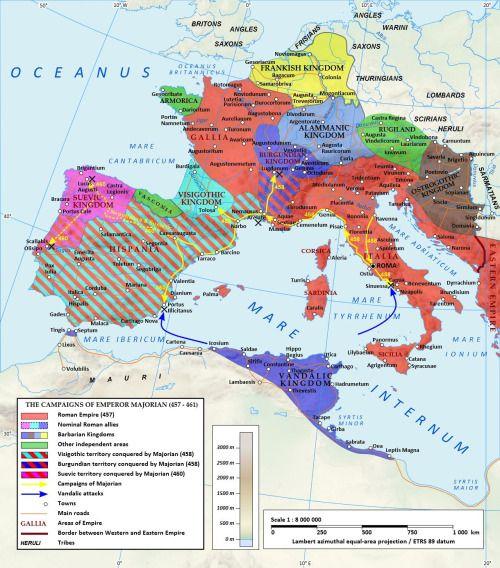 The campaigns of Emperor Majorian.