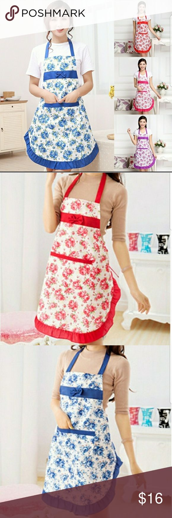 Red Apron and Colbolt Blue Apron Beautiful floral aprons in your choice of Colbolt Blue or Red. These have storage pockets in the front and a little bow. They are a nice size to protect your clothes. The material is flannel, cotton ,pollyester .  Free Size Other