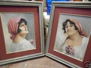 Coppia dipinti olio su tela raffiguranti ritratti di giovane donna firmati  Eduardo Forlenza, Napoli.