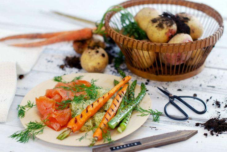 Gerookte zalm met dille-aardappelen