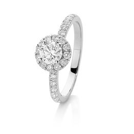 Sj0008 18Ct Wg Canadian Fire G Si2 Triple Exc. Cut 0.53Ct 34=.53Ct G Si Diamond Halo Sh/Solit Size N Ring 1.06Ct Tdw Ring Has Cert 16196