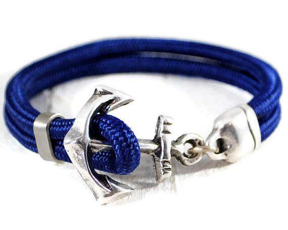 Men's Anchor Blue Cord Bracelet. Silver Anchor