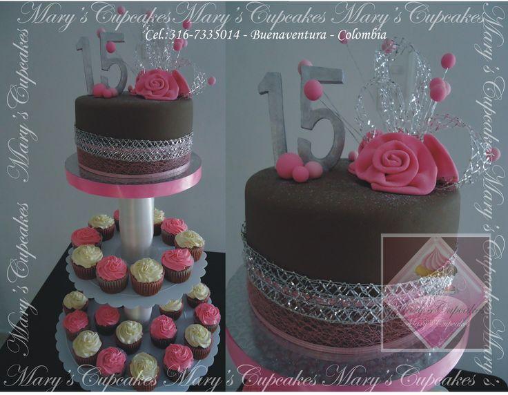 Torta contemporanea y cupcakes para xv a os en tonos for Decoracion en cupcakes