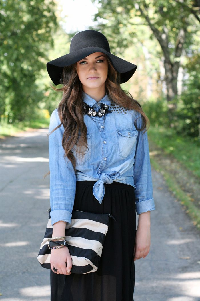 Fall fashion 2013, style, lookbook, blue denim shirt, black hat, outfit, fashionista