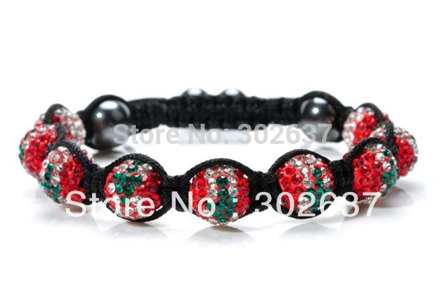 FREE SHIPPING 1PCS Rhinestone Crystal Hip Hop Lebanon Flag Beaded Bracelet #22659