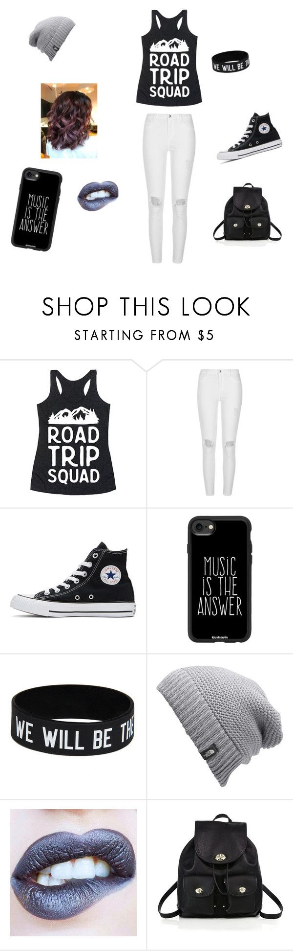 """""""road trip"""" by fantasy-cat-16 on Polyvore featuring River Island, Converse, Casetify, The North Face and Coach"""