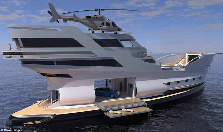 Luxury 200ft super yacht with has its own helipad, pool and gym