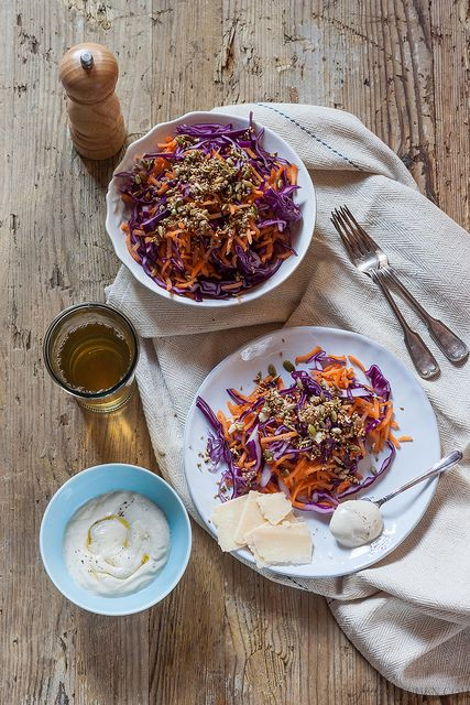 Red Cabbage and Carrot Salad with Tahini & Yogurt Dressing