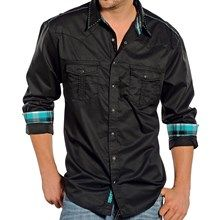 Rock & Roll Cowboy Solid Sateen Shirt - Snap Front, Long Sleeve (For Men) in Black - Closeouts