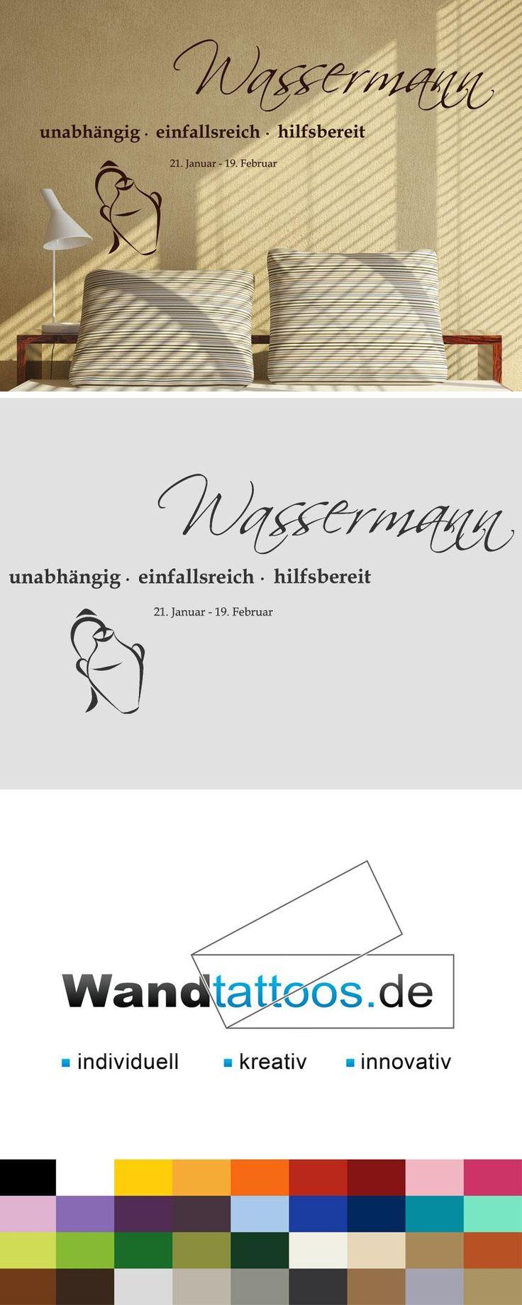 """Wandtattoo Sternzeichen """"Wassermann"""" als Idee zur individuellen Wandgestaltung. Einfach Lieblingsfarbe und Größe auswählen. Weitere kreative Anregungen von Wandtattoos.de hier entdecken!"""